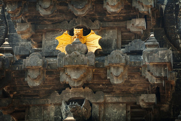 Intricate Facade of Goa Lawah Bat Cave Temple in Bali, Indonesia