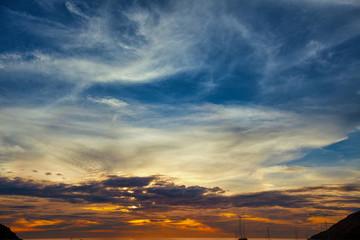 Beautiful Sunset Sky over a Warm, Tropical Sea