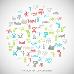 Multicolor doodles Hand Drawn Politics Icons set on White. EPS10 vector illustration.