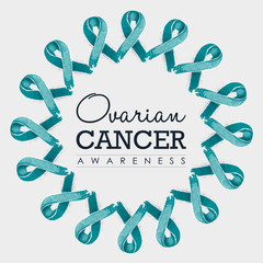 Ovarian cancer awareness ribbon design with text