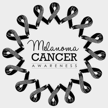 Melanoma cancer awareness ribbon design with text