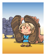 David vs. Goliath Biblical story comic drawing funny characters