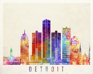 Detroit landmarks watercolor poster