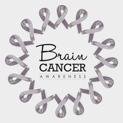Brain cancer awareness ribbon illustration design