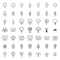 Tree icon set in thin line style. Vector symbols.