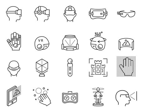 Virtual reality icon set in thin line style. Vector illustration.