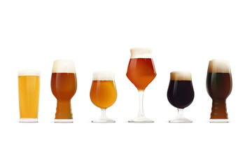 Beer Glasses Set. Different types of beer - Hoppy Lager, IPA, Golden Ale, APA, Stout, DIPA. Craft Beer. Craft Brewery.
