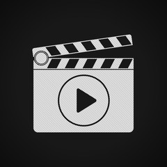 Flat white clapperboard icon