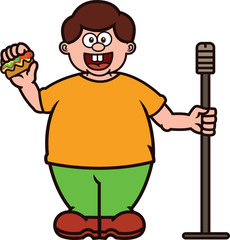 Fat Stand Up Comedian with Burger and Microphone Stand Cartoon
