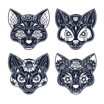 day of the dead cat skull candy with floral ornament seamless pa