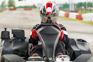 Go kart racer on the track