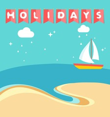 Summer holidays beach scene with ship sailing a sea