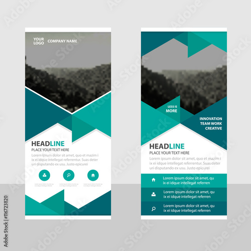 green abstract triangle business roll up banner flat design template abstract geometric banner template vector