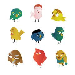 Set cartoon funny  birds characters vector illustration.