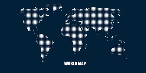 World Map in Dot Mosaic Style