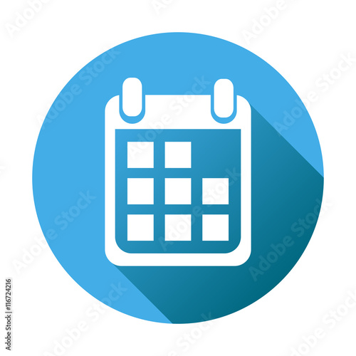 Calendar Icon Blue : Quot calendar icon on blue round background vector