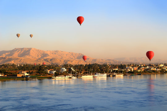 Hot air balloons in Luxor at sunrise