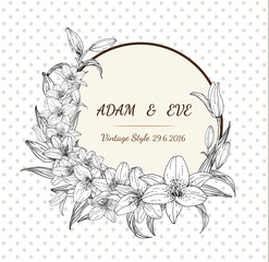 Lily flower card vector by hand drawing.Lily card vintage style.