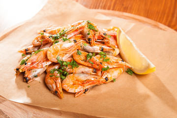 Shrimp with Herb oil and garlic