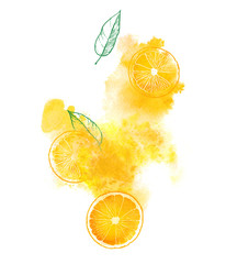Orange slices and juicy splash on white background. Hand-painted watercolor illustration