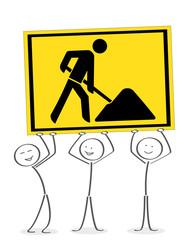 Team aus Strichmännchen mit gelben Arbeiterschild