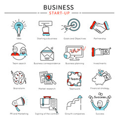 Startup Business Line Icon Set