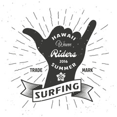 Surfing Hand Poster
