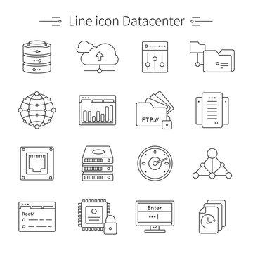 Datacenter Line Icon Set