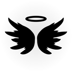 Abstract angel image. The wings and halo. Isolated object. Icon vector. Sketch.