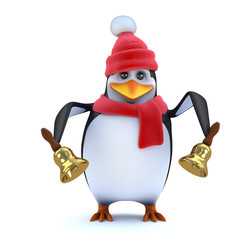3d Winter penguin rings his brass bells
