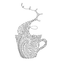 Tangled intricate design of a coffee / tea cup and vapor. Adult grown-up coloring book page for stress relieving and relaxation.