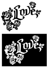 """Roses silhouettes and single word """"Love"""". Vector clip art."""
