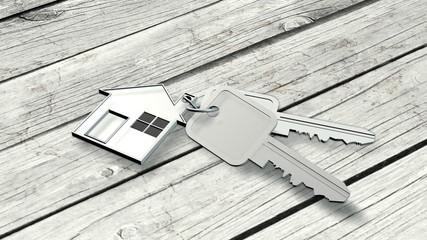 House keys on wood