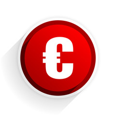 euro flat icon with shadow on white background, red modern design web element