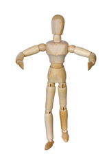 Wooden man with hands