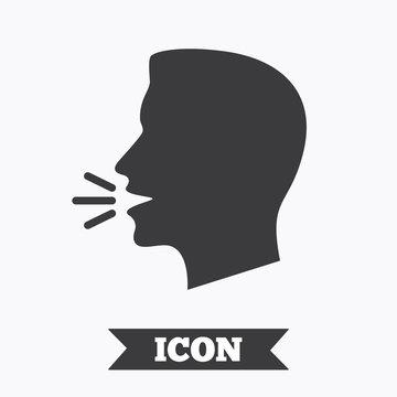 Talk or speak icon. Loud noise symbol.
