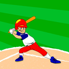 Young baseball player with a bat on his shoulder ready for batting. Baseball filed. Young boy in red blue white clothes. Cartoon character.