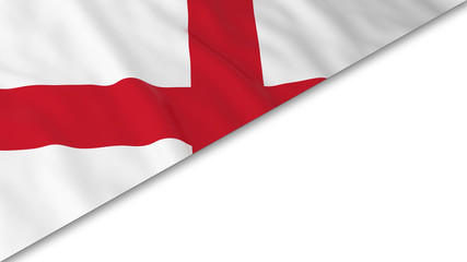 English Flag corner overlaid on White background - 3D Illustration