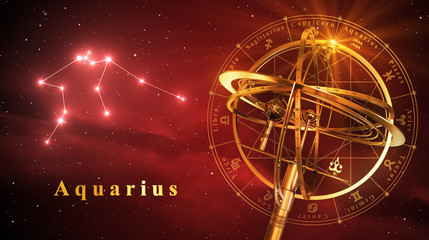 Armillary Sphere And Constellation Aquarius Over Red Background