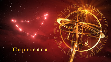 Armillary Sphere And Constellation Capricorn Over Red Background