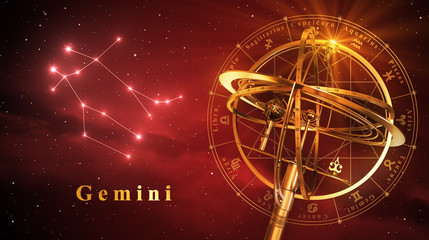 Armillary Sphere And Constellation Gemini Over Red Background
