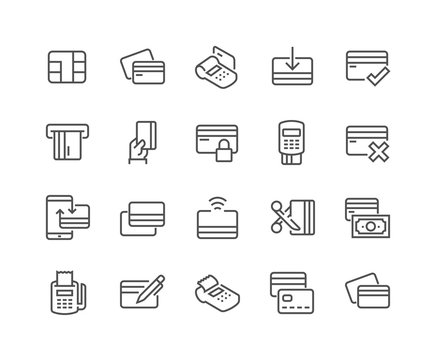 Line Credit Card Icons
