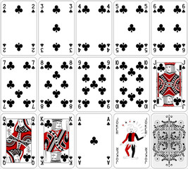 Poker cards club set two color classic design