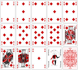 Poker cards diamond set two color classic design