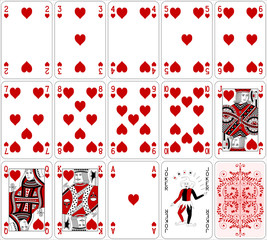 Poker cards heart set two color classic design