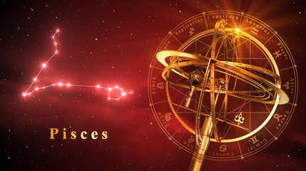 Armillary Sphere And Constellation Pisces Over Red Background
