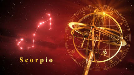 Armillary Sphere And Constellation Scorpio Over Red Background