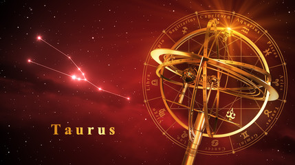 Armillary Sphere And Constellation Taurus Over Red Background