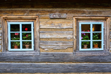 Colorful window background. Countryside in Czech Republic