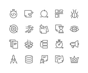 Line Agile Development Icons